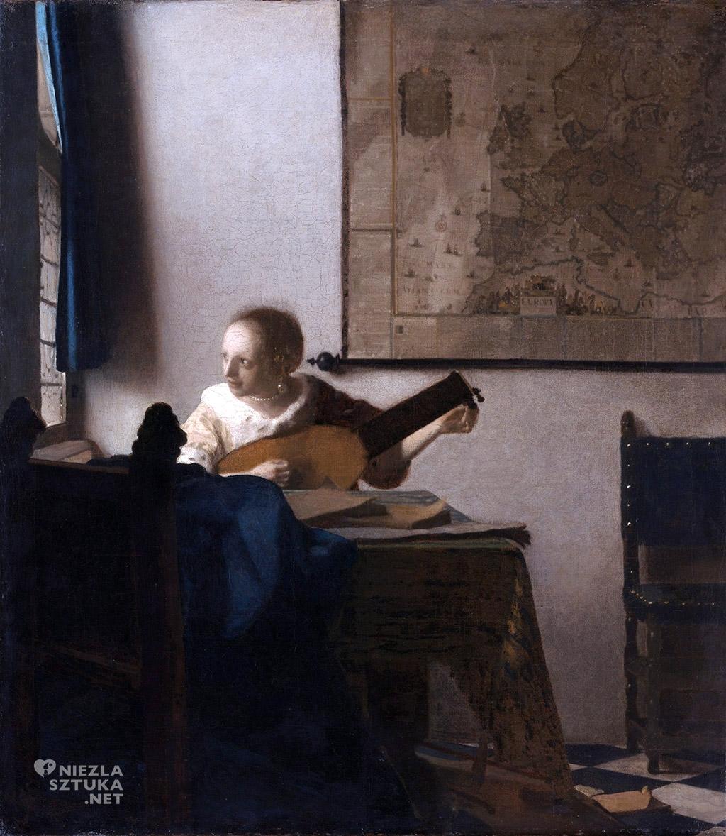 Johannes Vermeer, Kobieta z lutnią, malarstwo niderlandzkie, Niezła Sztuka