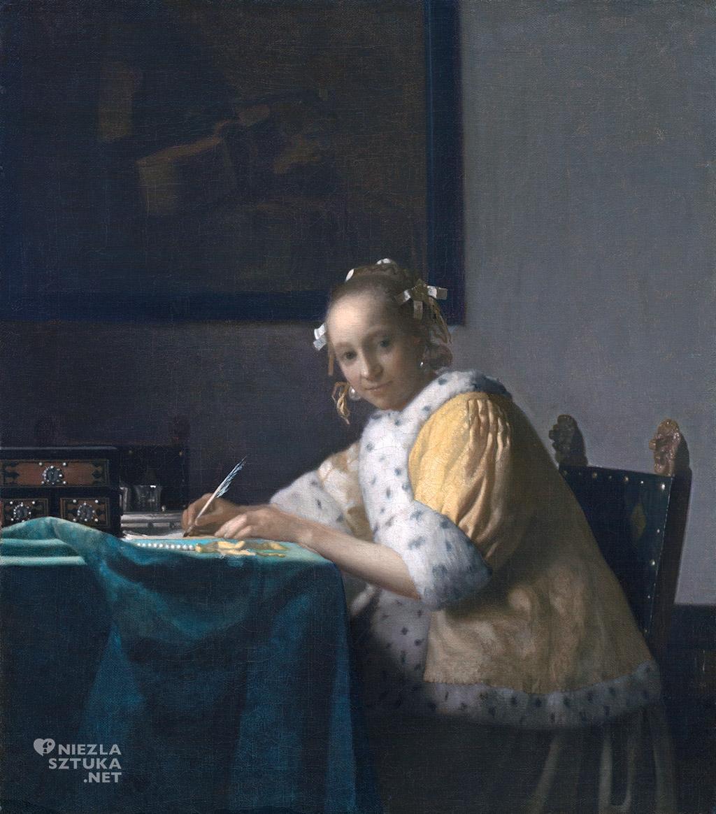 Johannes Vermeer, Dziewczyna piszcząca list, malarstwo niderlandzkie, Niezła Sztuka