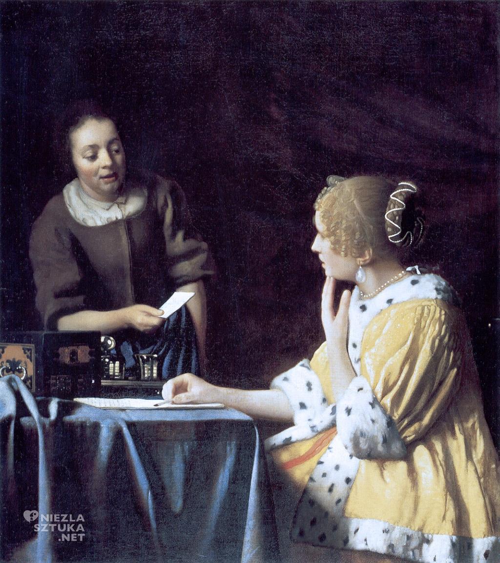 Johannes Vermeer, Dama z pokojówką, malarstwo niderlandzkie, Niezła Sztuka