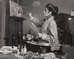 Olga Boznańska w pracowni w Krakowie, fotografia, Niezła sztuka