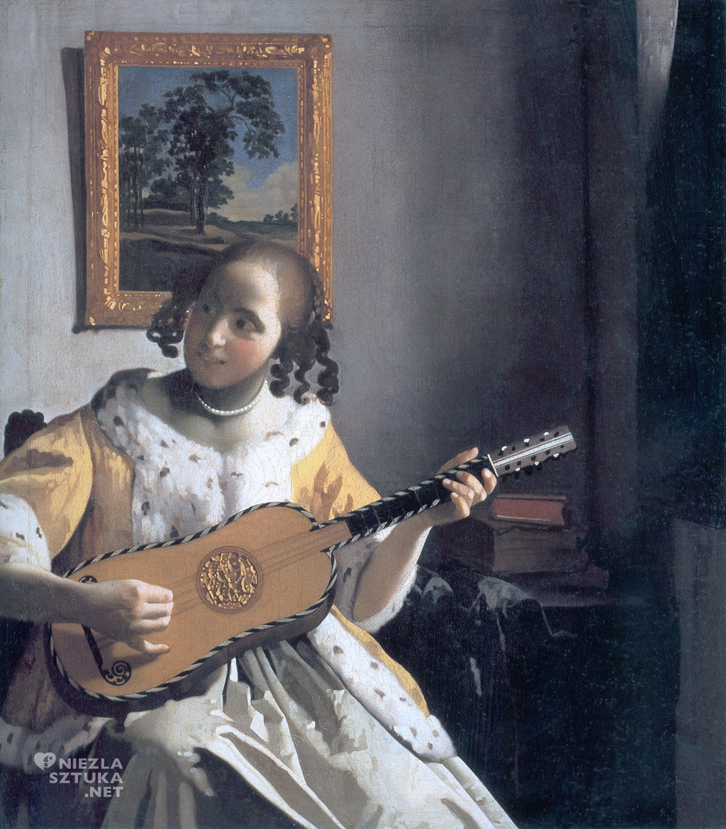 Johannes Vermeer, Dziewczyna grająca na gitarze, malarstwo holenderskie, Niezła Sztuka