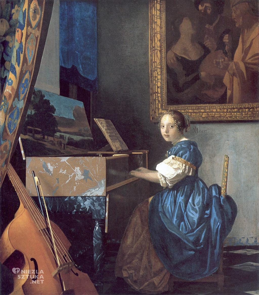Johannes Vermeer van Delft, Młoda kobieta przy klawesynie, malarstwo niderlandzkie, Niezła Sztuka