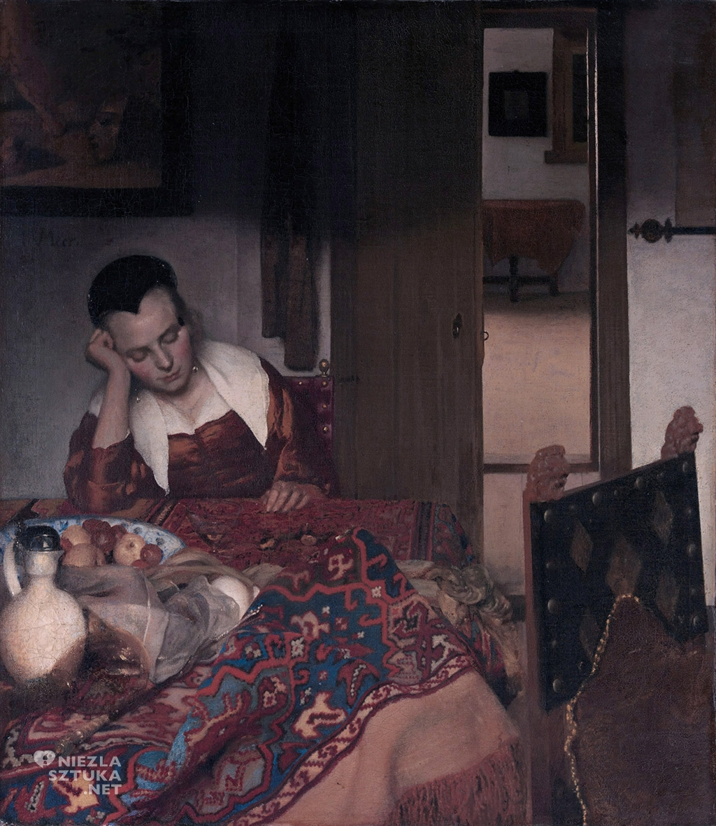 Johannes Vermeer, Pijana dziewczyna śpiąca przy stole, malarstwo niderlandzkie, Niezła Sztuka