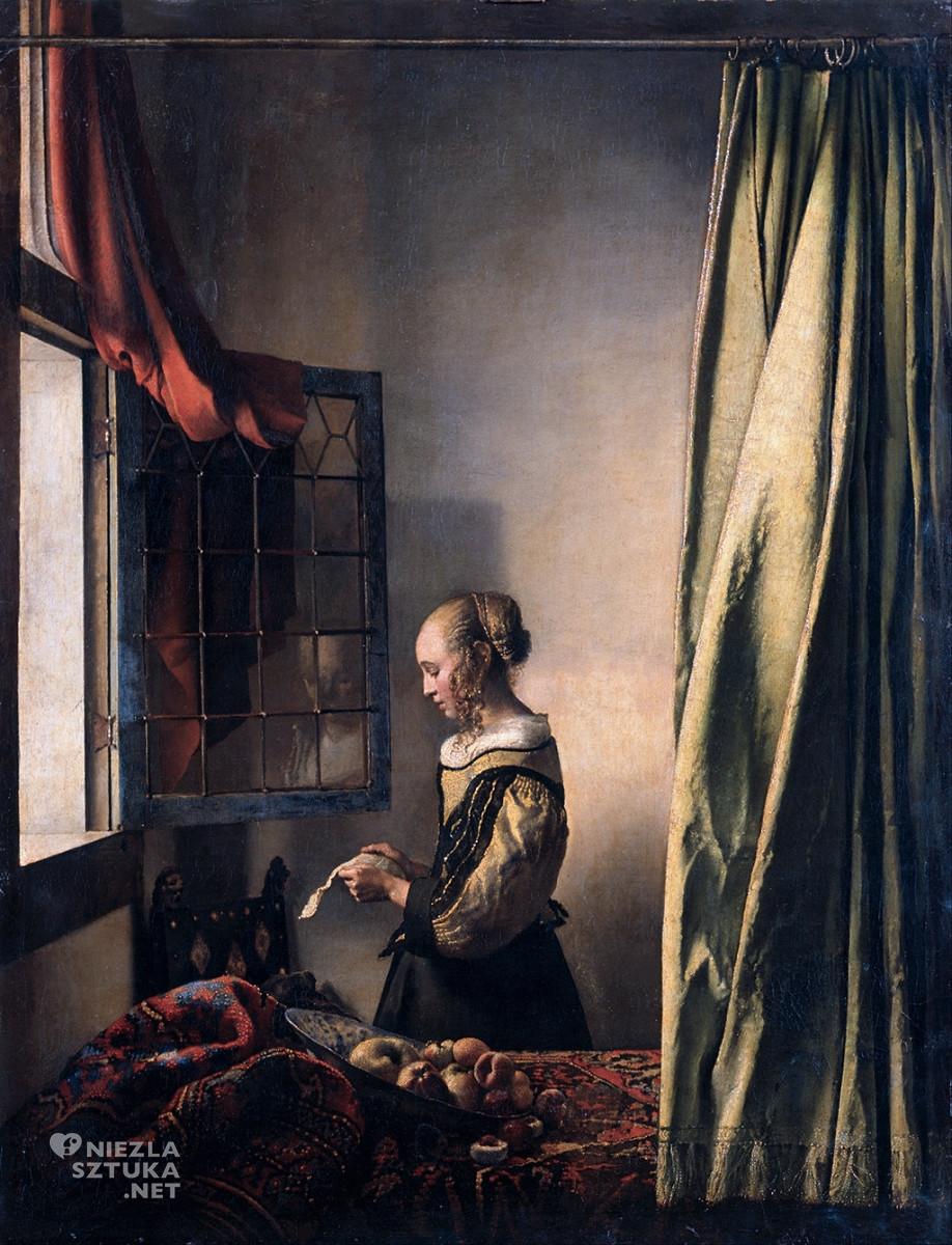 Johannes Vermeer, Dziewczyna czytająca list przy oknie, Kupidyn, Galeria Obrazów Starych Mistrzów, Drezno, Niezła sztuka