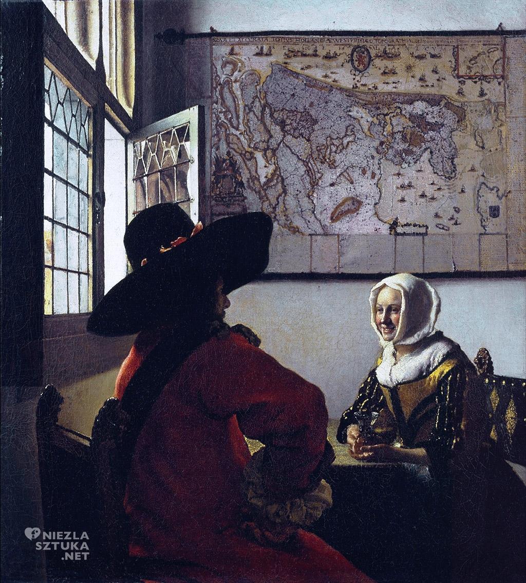 Johannes Vermeer, Oficer i roześmiana dziewczyna, malarstwo niderlandzkie, Niezła Sztuka