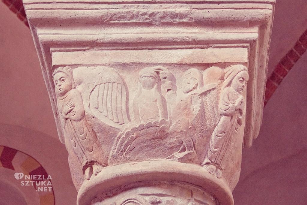 Strzelno kolumny Chrzest Chrystusa w Jordanie, głowica Kolumny Cnót, architektura polska, Niezła Sztuka
