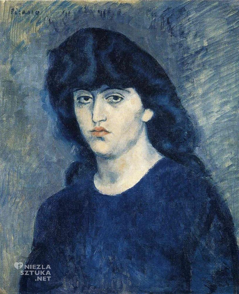PPablo Picasso, Portret Suzanne Bloch, kobiety Picassa, kobiety w sztuce, okres błękitny, Niezła Sztuka