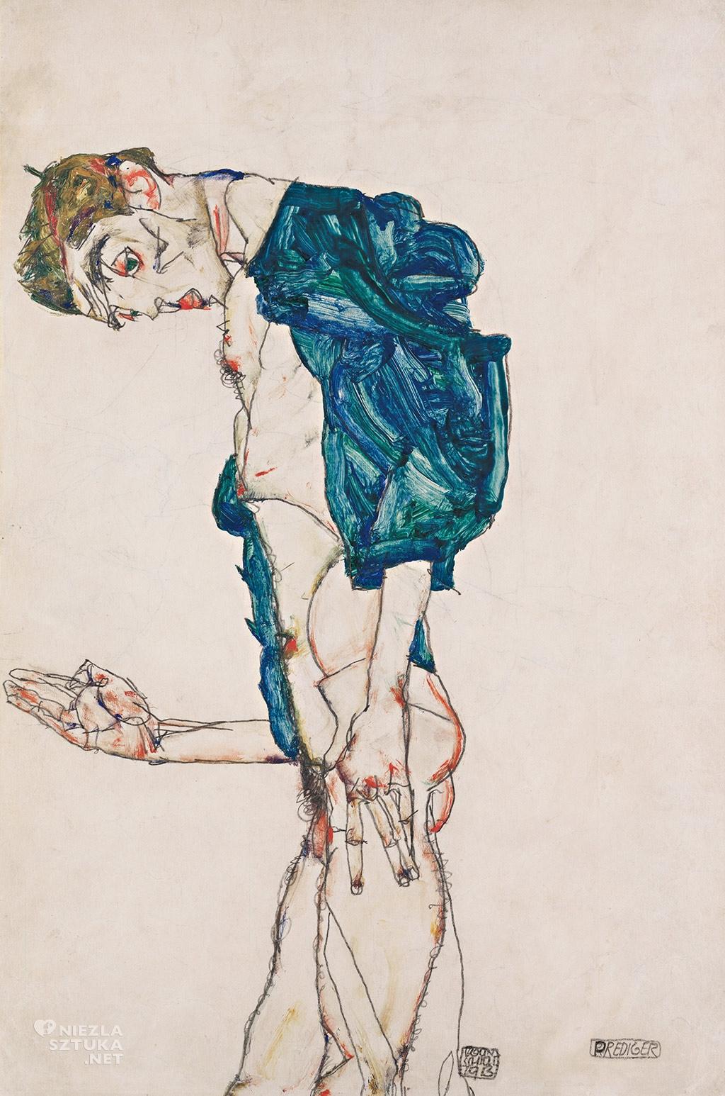 Egon Schiele, Autoportret w niebiesko-zielonej koszuli, Leopold Museum, Wiedeń, Niezła sztuka