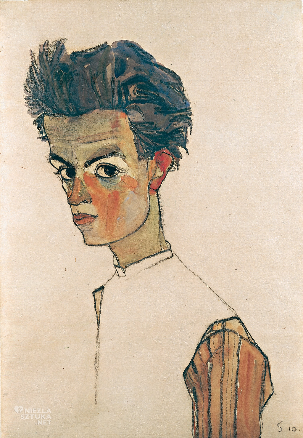 Egon Schiele, Autoportret w pasiastej koszuli, Leopold Museum, Wiedeń, Niezła sztuka