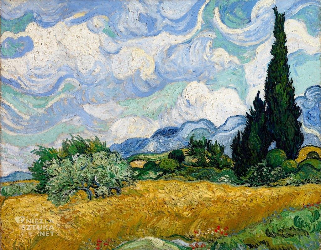 Vincent van Gogh, Pole pszenicy z cyprysami, 1889