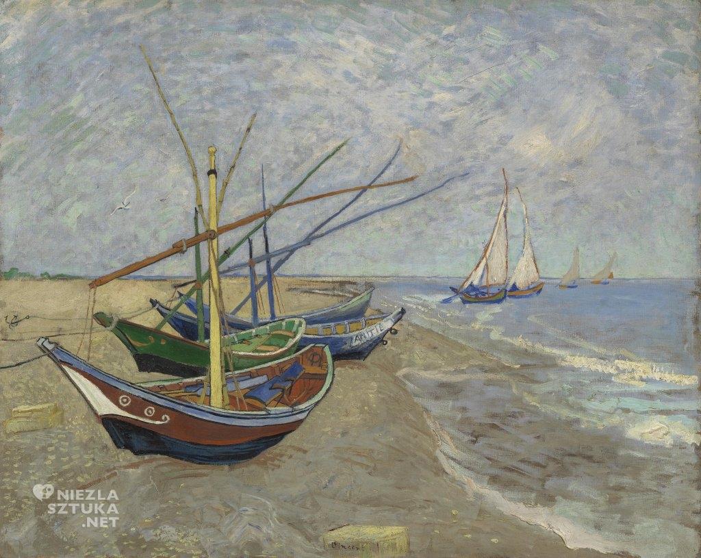 Vincent van Gogh, Łodzie rybackie na plaży w Saintes-Maries-de-la-Mer, malarstwo holenderskie, Niezła Sztuka
