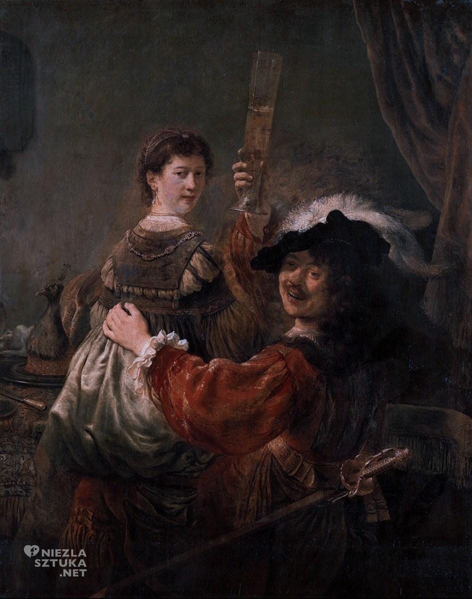 Rembrandt, Autoportret z Saskią, malarstwo holenderskie, Niezła sztuka