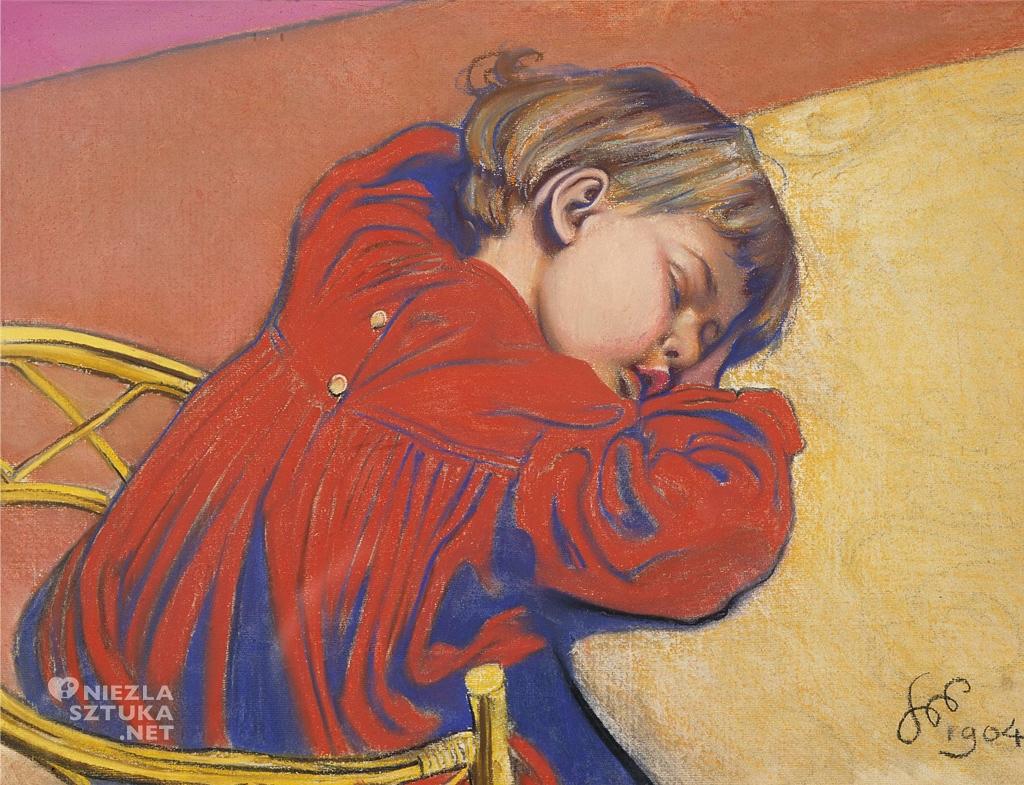 Stanisław Wyspiański Śpiący Staś, 1904, Muzeum Narodowe w Poznaniu, Staś Wyspiański, dziecko w malarstwie, polska sztuka, Niezła sztuka