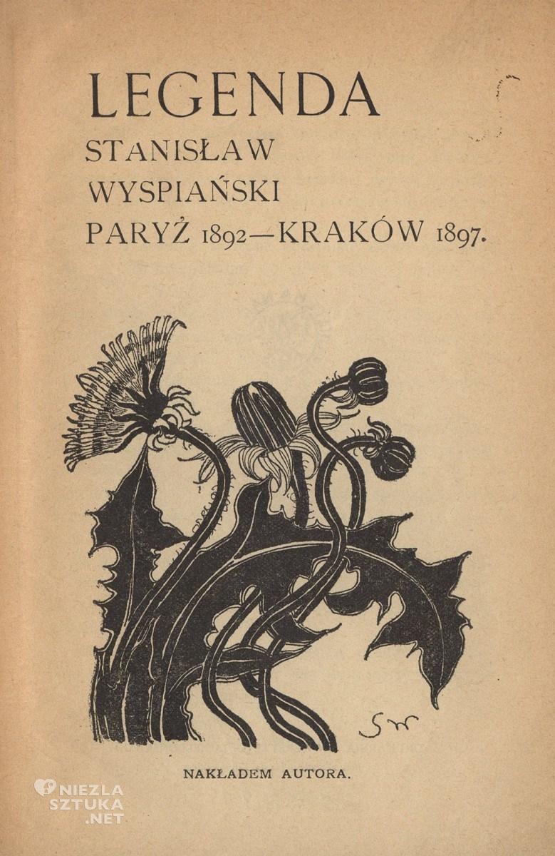 S. Wyspiański, Winieta z kwiatem mniszka pospolitego do utworu Biedne pieśni mojej duszy w 1 wyd. Poezji L. Rydla z 1899 r.