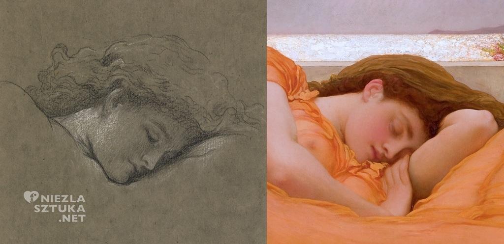 Frederick Leighton, Flaming June (szkic), prerafaelici, kobieta, nimfa, Niezła sztuka
