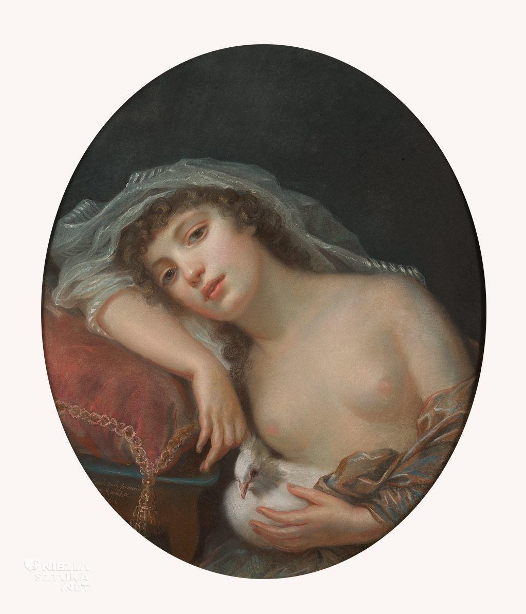 Anna Rajecka <em>Dziewczyna z gołąbkiem</em> (Alegoryczny portret Rozalii z Chodkiewiczów Lubomirskiej?), 1789-90, MNW