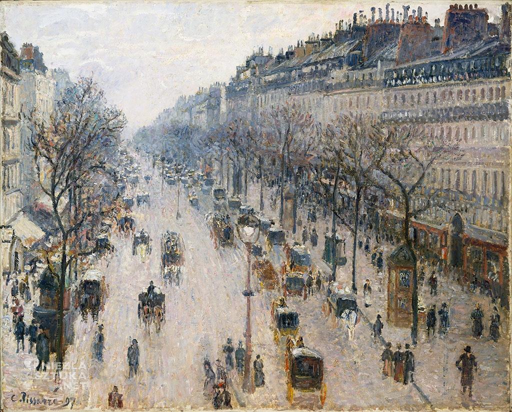 Camille Pissarro, Boulevard Montmartre, impresjonizm, sztuka światowa, impresjonizm, malarstwo francuskieNiezła Sztuka
