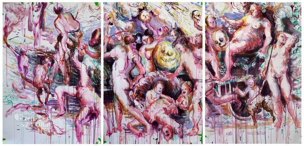 Bachhanale, Tusche auf Papier, 210 x100cm, 2012