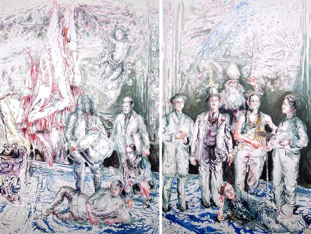 Chapter-2-Surrounded-by-Artists-and-Professors-ink-on-paper-200-x-260-cm