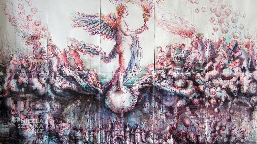 Fortuna und ihre Kinder, ink on paper, 200x350cm,2011