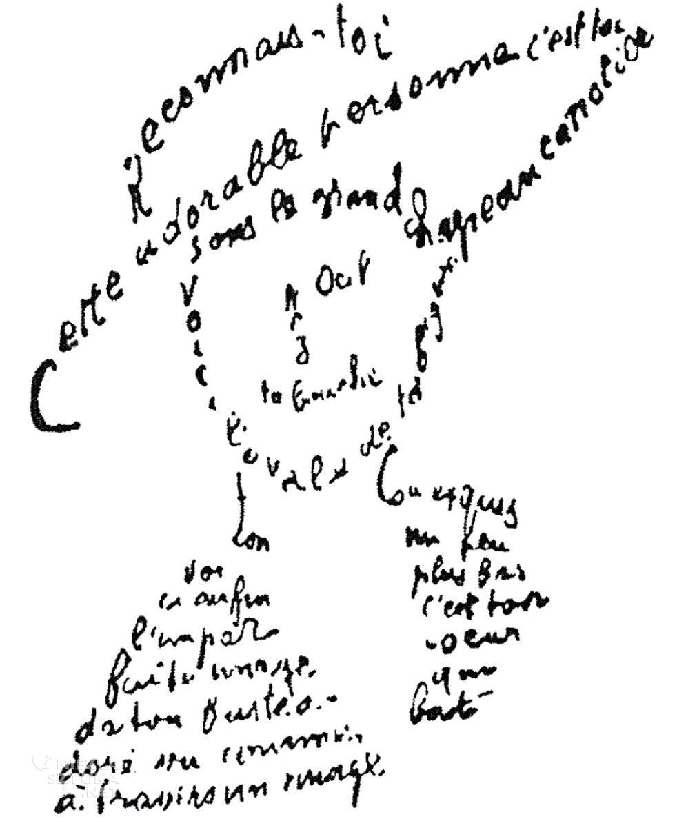 Guillaume Apollinaire Kaligramy | 1918, fot.: wikipedia.org