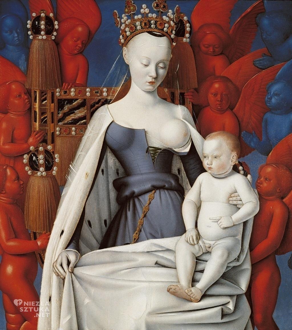 Jean Fouquet Dyptyk z Melun, Madonna z Dzieciątkiem wśród Aniołów (prawy panel) | ok. 1450, olej na desce, 94.5 cm x 85.5 cm, Royal Museum of Fine Arts, Antwerpia