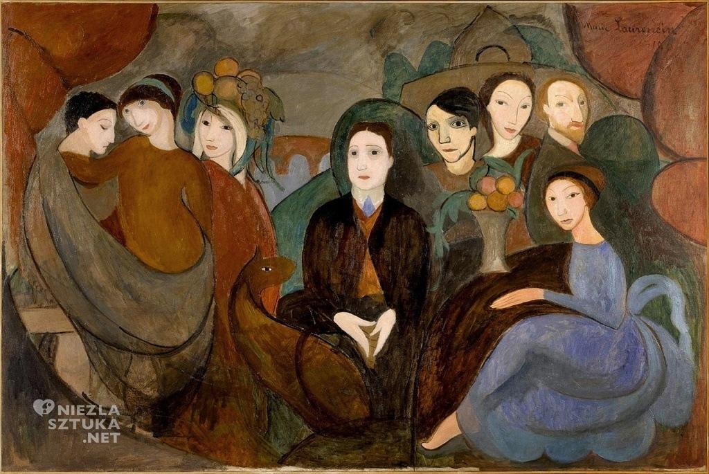 Marie Laurencin Krąg przyjaciół | 1909, (Apollinaire wśród przyjaciół – poeta widoczny pośrodku, tuż obok niego po prawej Picasso, malarka po prawej stronie obrazu, po lewej stronie widoczna Gertruda Stein, która kupiła to płótno do swojej kolekcji)