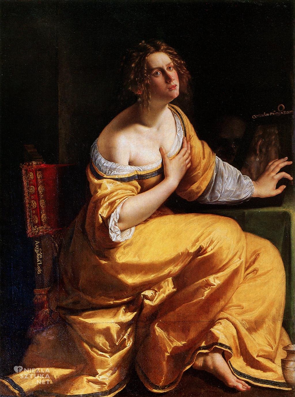 Artemizja Gentileschi <em>Pokutująca Maria Magdalena</em> | ok. 1617-1620,<br>olej na płótnie, 146,5 × 108 cm Palazzo Pitti, Florencja