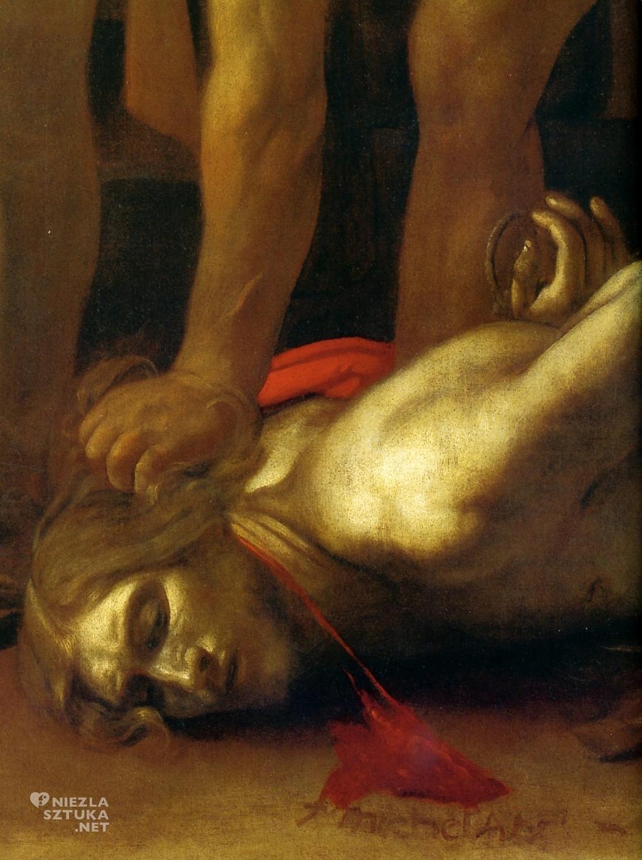 Caravaggio Ścięcie św. Jana Chrzciciela, detal | 1608, olej na płótnie, 361 × 520 cm, Konkatedra św. Jana w Valletcie