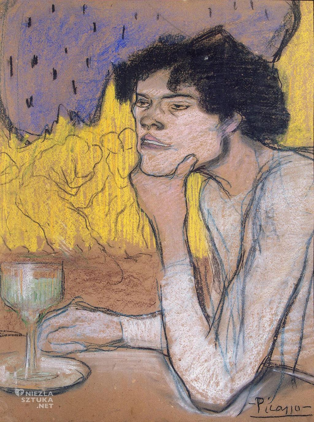 Pablo Picasso, Absynt, Dziewczyna w kawiarni, alkohol, bohema, Niezła Sztuka