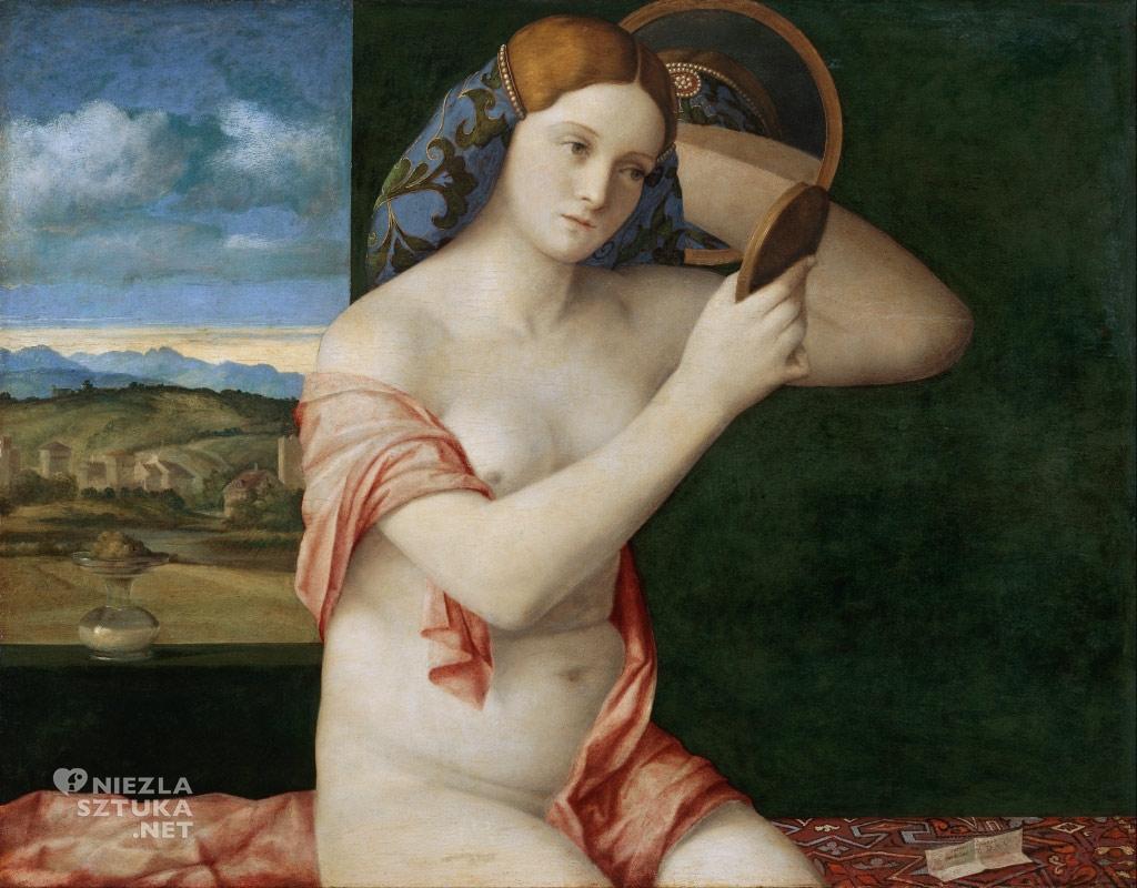 Giovanni Bellini Toaleta młodej kobiety | 1515,olej na płótnie, 62 × 79 cm, Muzeum Historii Sztuki w Wiedniu