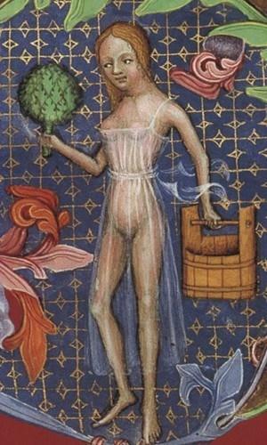 Panna łaziebna z Biblii Wacława IV, ok. 1390 - 1400, Cod. 2759 Han, f.160, Wiedeń, Österreichischen Nationalbibliothek