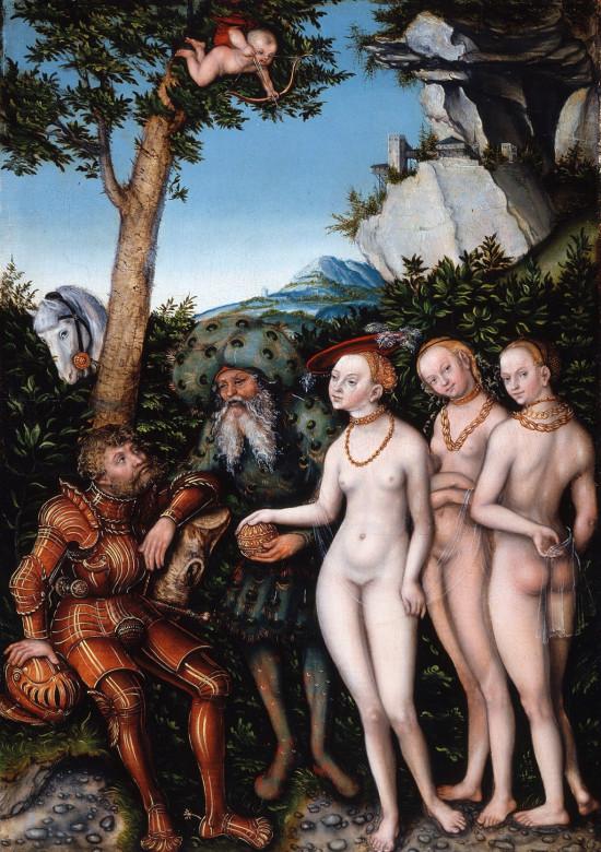 Lucas Cranach, Sąd Parysa, mitologia, Niezła Sztuka