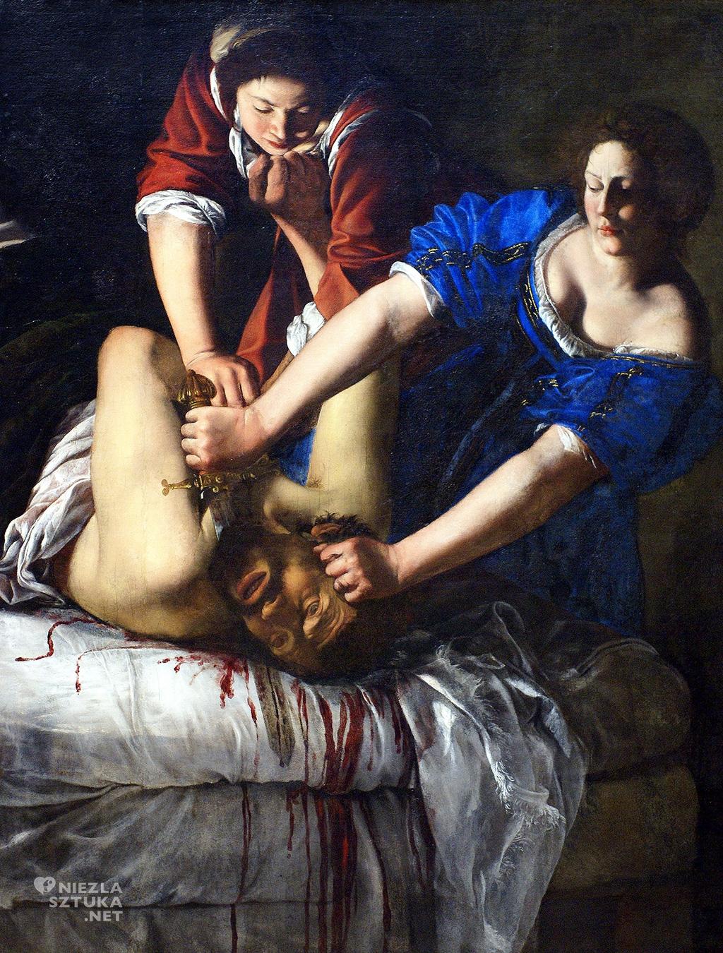 Artemizja Gentileschi <em>Judyta odcinająca głowę Holofernesowi</em> |1612, <br> olej na płótnie 159 × 126 cm, Museo di Capolodimonte, Neapol