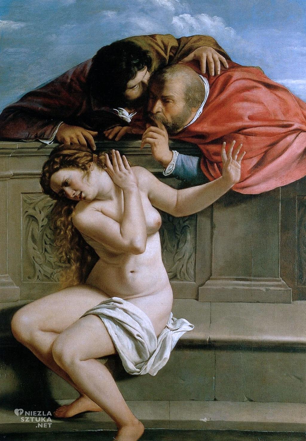 Artemizja i Orazio Gentileschi <em>Zuzanna i starcy</em> | 1610, <br /> olej na płótnie, 170 × 121 cm, Pałac Weißenstein w Pommersfelden, Niemcy, fot. wikipedia.com