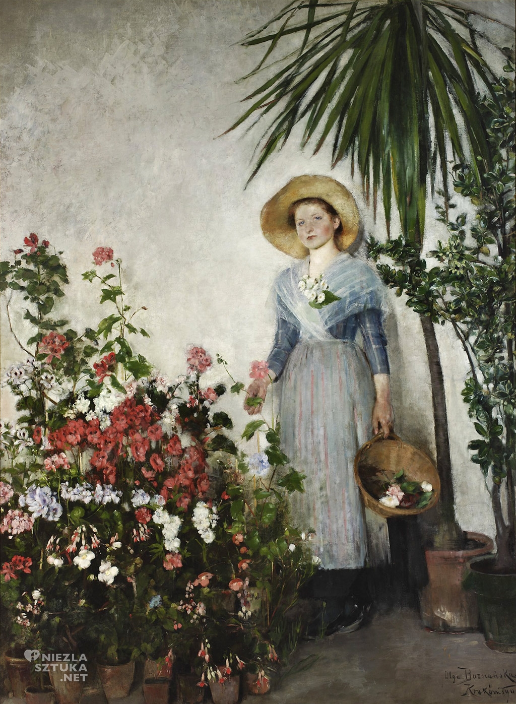 Olga Boznańska, W oranżerii (W cieplarni), malarstwo polskie, sztuka polska, Niezła Sztuka