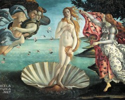 Sandro Botticelli Narodziny Wenus | ok. 1485, 172,5 × 278,5 cm, tempera na płótnie, Galeria Uffizi, Florencja, Niezła sztuka