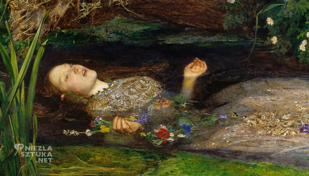 John Everett Millais Ofelia   1851-1852, 76,2 cm × 111,8 cm, olej na płótnie, Tate Britain Niezła sztuka