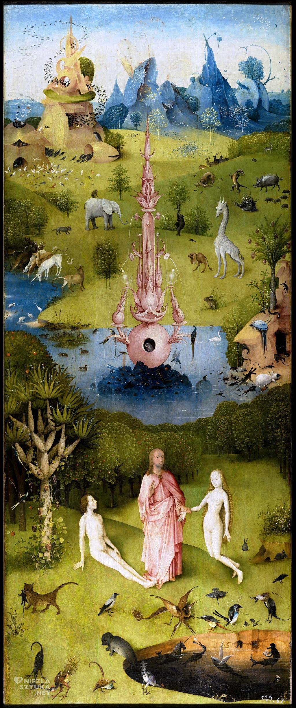Hieronim Bosch Ogród rozkoszy ziemskich, lewy panel | ok. 1500, tryptyk, Museo del Prado, Madryt
