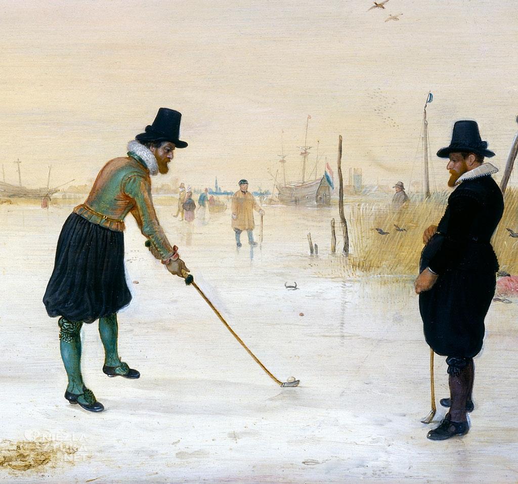 Hendrick Avercamp, kolf, Gracze na lodzie, malarstwo holenderskie, Niezła sztuka