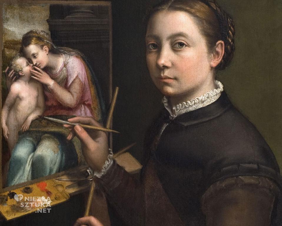 Sofonisba Anguissola, Autoportret przy sztaludze, Muzeum-Zamek, Łańcut, kobiety w sztuce, kobiety malarki. Niezła sztuka