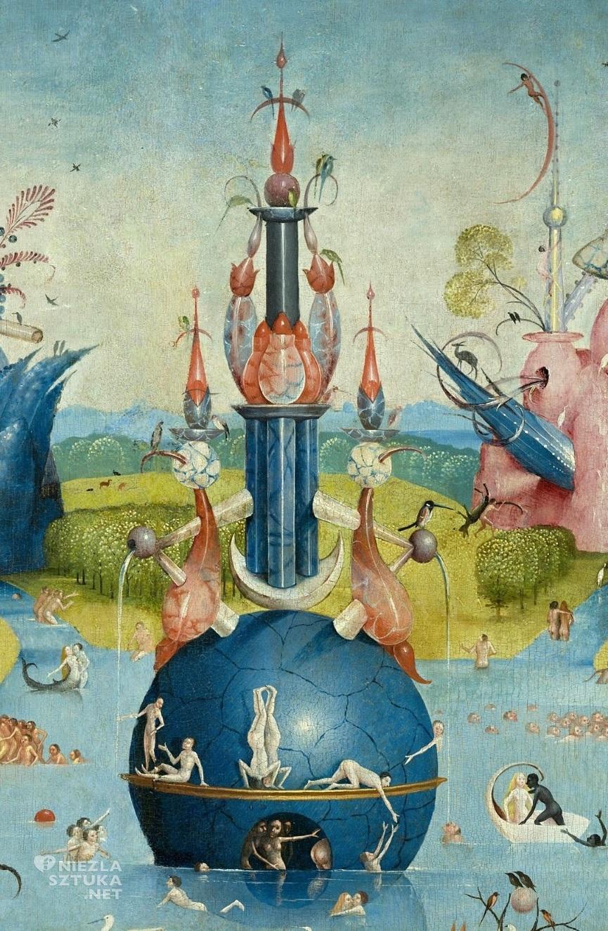 Hieronim Bosch, Ogród rozkoszy ziemskich, detal, tryptyk, lewy panel, sztuka niderlandzka, Niezła Sztuka