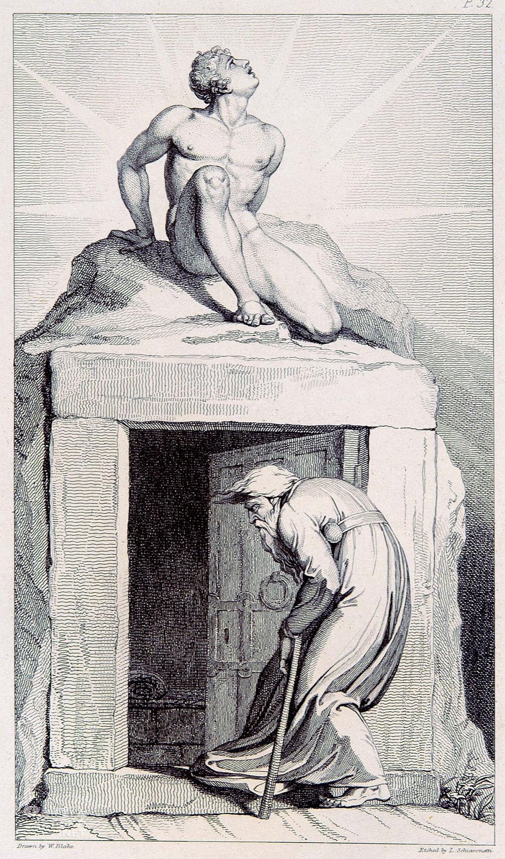 William Blake Drzwi śmierci (Death's Door). Akwaforta wykonana techniką białej kreski zdobiąca poemat Grób Roberta Blaira | 1805, fot. University of Toronto