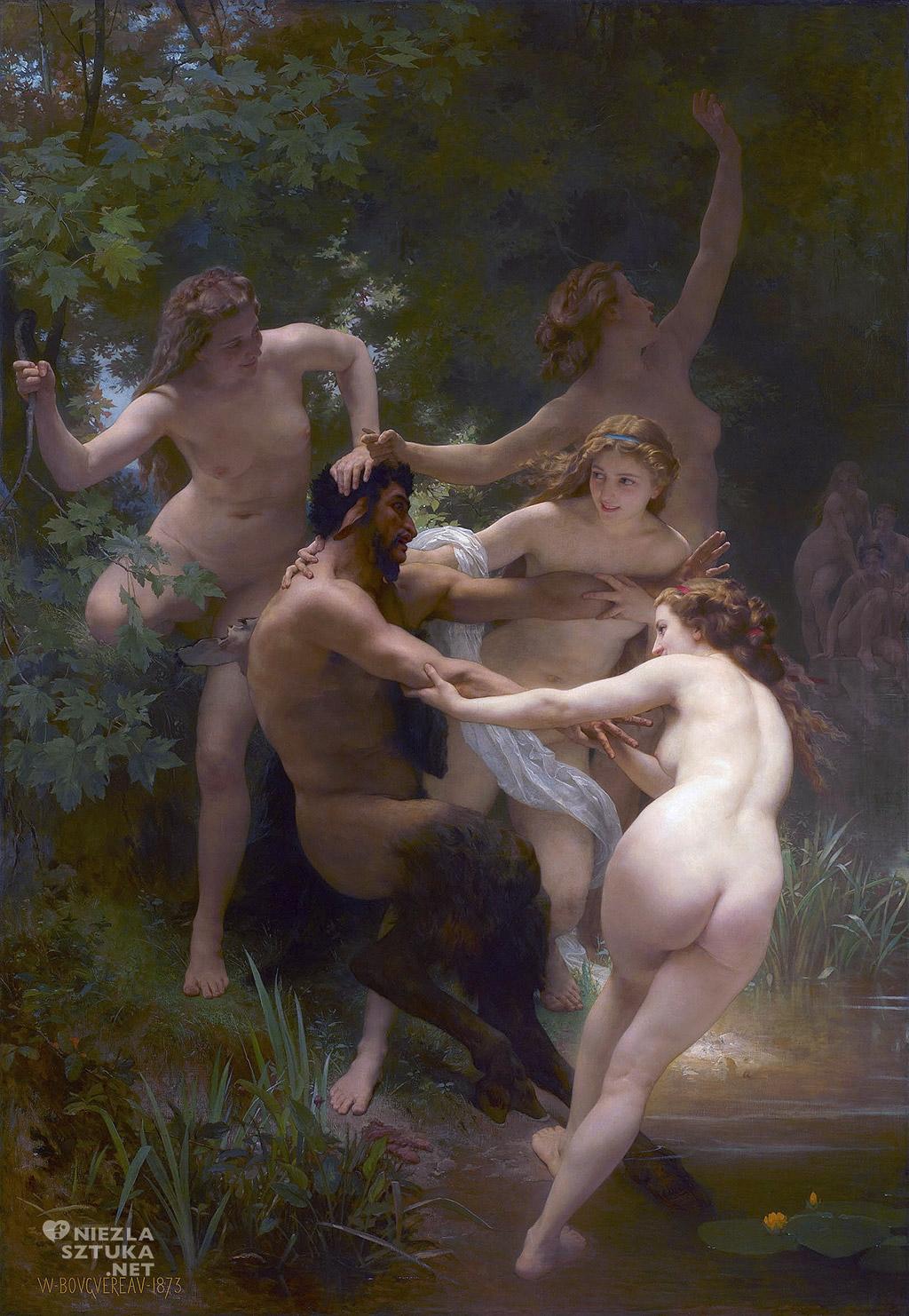 William Adolphe Bouguereau <em>Nimfy i satyr</em>   1873,<br /> olej na płótnie, 260 × 180 cm, Clark Art Institute
