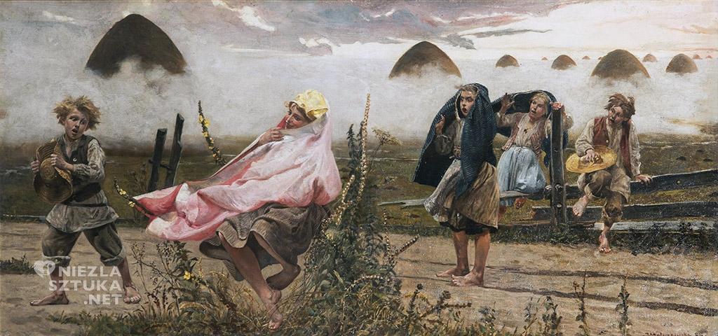 Jacek Malczewski, Boginka w dziewannach | 1888 , olej/płótno, 45,5 × 96,5 cm, Cykl Rusałki, Muzeum Uniwersytetu Jagiellońskiego Collegium Maius