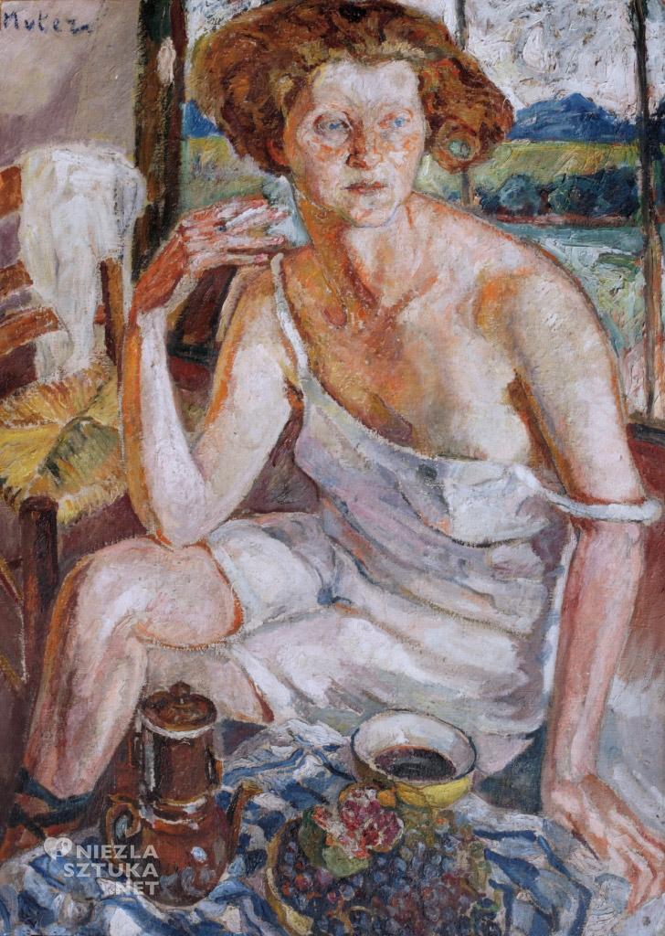 Mela Muter Kobieta paląca papierosa | ok. 1940, olej, płótno 100 × 73 cm, Muzeum Miasta Łodzi
