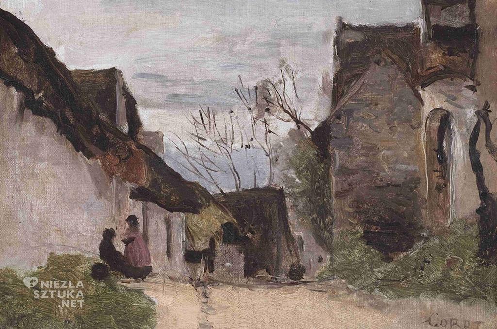 Jean-Baptiste-Camille Corot Wiejska uliczka w Normandii   ok.1865, Muzeum Narodowe w Gdańsku