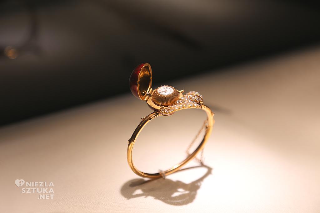 Szwajcaria, Genewa, bransoletka – zegarek z motywem wiśni. Materiały: złoto, diamenty, emalia