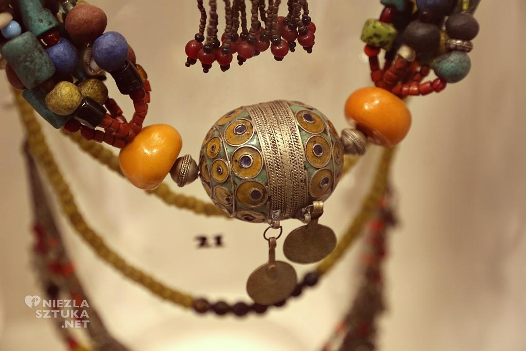 Naszyjnik, srebro, bursztyn, Jemen XX w.