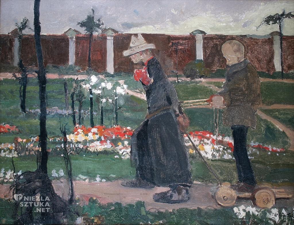 Witold Wojtkiewicz Za murem, z cyklu Obłęd | 1906, Muzeum Pałac Herbsta